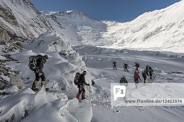 Nepal  Solo Khumbu  Everest  Sagamartha National Park  Mountaineers at Western Cwm