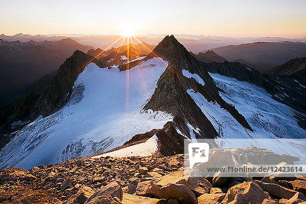 Austria  Tyrol  Zillertal Alps  View from Reichenspitze  glaciated mountains at sunset  Wildgerlos Valley  High Tauern National Park