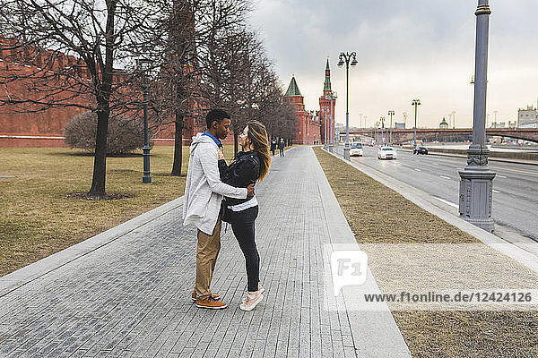Russia  Moscow  multiracial couple in the city