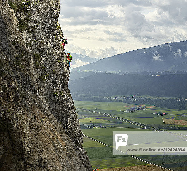Austria  Tyrol  two rock climbers in Martinswand