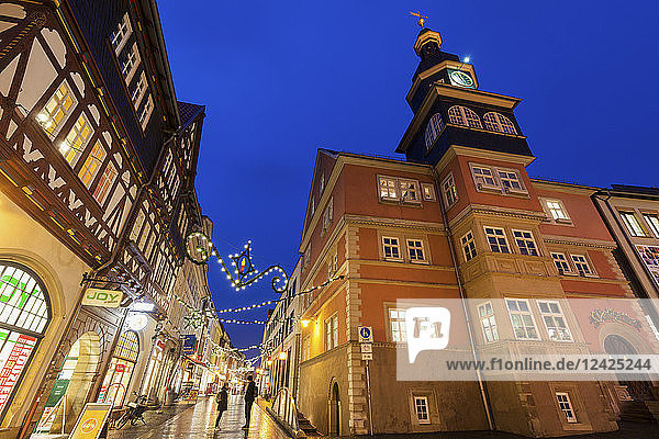 Germany  Thuringia  Eisenach  Architecture and christmas ornaments down street