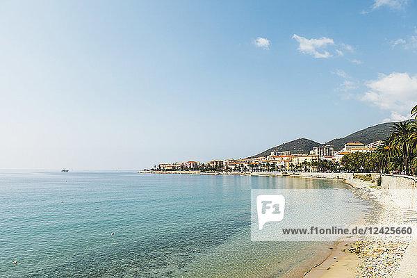 France  Corsica  Ajaccio  Coastline and empty beach