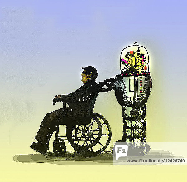 Robot pushing elderly man in wheelchair