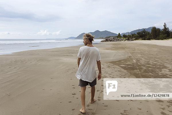 Rear view shot of single man walking on beach  Banda Aceh  Sumatra  Indonesia