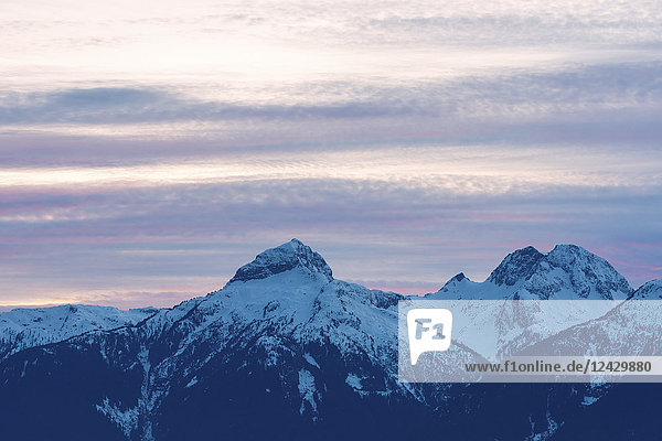Majestic natural scenery with view of snowcapped Tantalus mountain range  Squamish  British Columbia  Canada