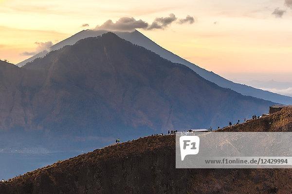 Majestic sunset scenery with Mount Batur volcano  Bali  Indonesia