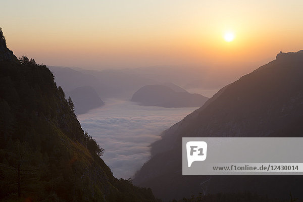 Sunrise from Mount Vogel  a famous hiking peak on the beautiful ridge above Bohinj lake in Triglav National Park  Slovenia