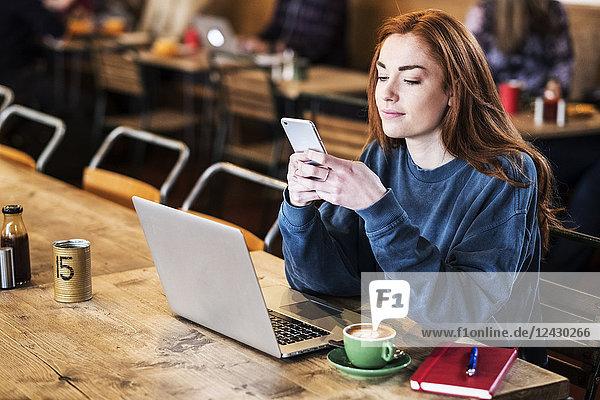 Lächelnde junge Frau mit langen roten Haaren  die am Tisch sitzt  am Laptop-Computer arbeitet und ein Mobiltelefon benutzt.