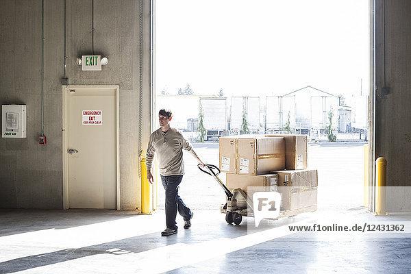 Ein männlicher Lagerarbeiter bewegt Kartons mit Produkten mit Hilfe eines manuellen Palettenwagens.