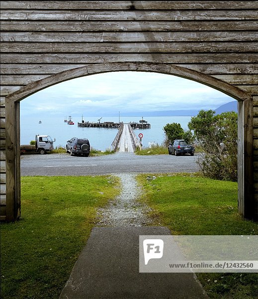 Road and Seaside Pier  Jackson Bay  New Zealand  3D Motion