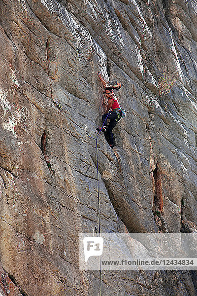 A rock climber at El Chorro  Andalucia  Spain  Europe