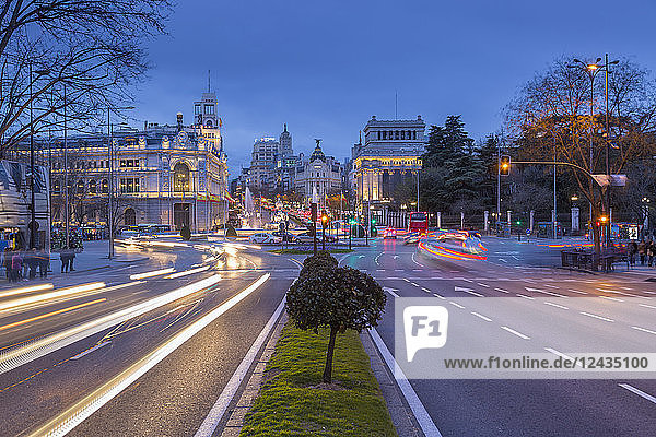 View of Cibeles Fountain in Plaza Cibeles at dusk  Madrid  Spain  Europe