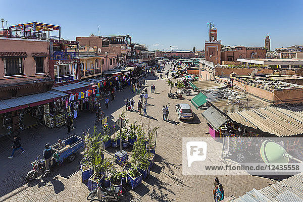 Elevated view of Jemaa el Fna (Djemaa el Fnaa) Square  UNESCO World Heritage Site  during daytime  Marrakesh  Morocco  North Africa  Africa