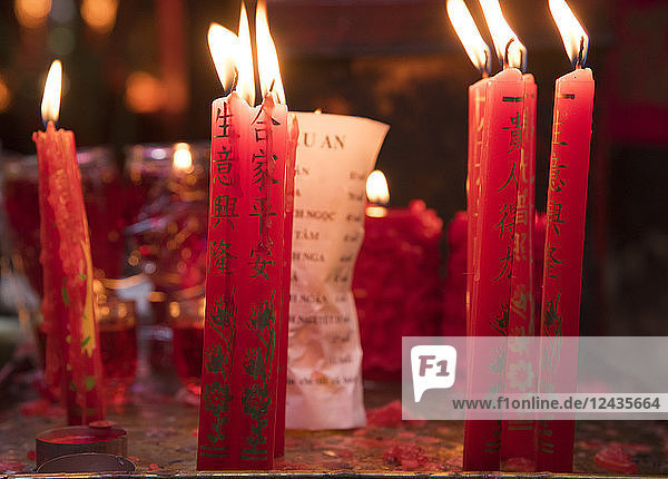 Prayer candles in the Jade Emperor Pagoda in Ho Chi MInh City  Vietnam  Indochina  Southeast Asia  Asia