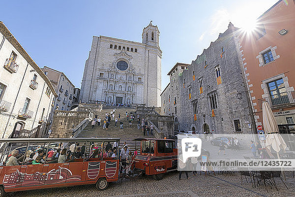 City Tour Train in front of Cathedral  Girona  Catalonia  Spain  Europe