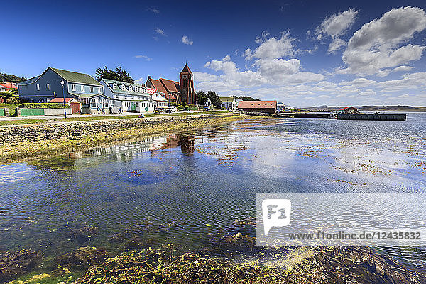 Stanley waterfront reflections  Christ Church Cathedral  Whalebone Arch  Stanley  Port Stanley  Falkland Islands  South America