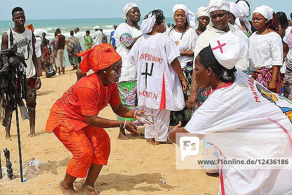Voodoo cult on a beach in Cotonou  Benin  West Africa  Africa
