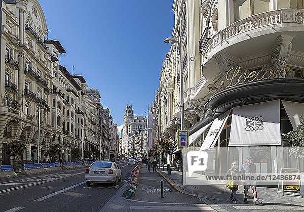 View of shops and traffic on Gran Via  Madrid  Spain  Europe