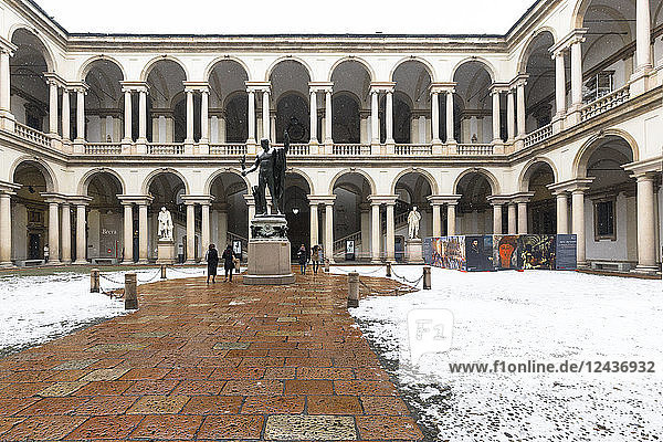 Courtyard of Honor of the Palace of Brera during snowfall  Milan  Lombardy  Northern Italy  Italy  Europe