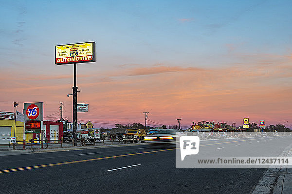 Historic Route 66 town glowing at sunset  Seligman  Arizona  United States of America  North America