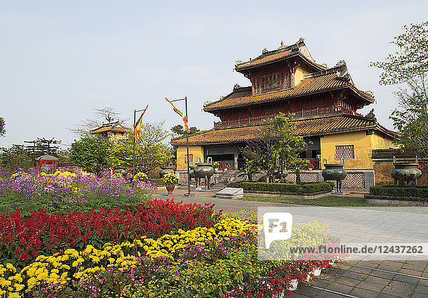 Multicoloured flowers to celebrate the Tet holiday at the Hien Lam Pavilion in the Imperial City  the Citadel  UNESCO World Heritage Site  Hue  Vietnam  Indochina  Southeast Asia  Asia