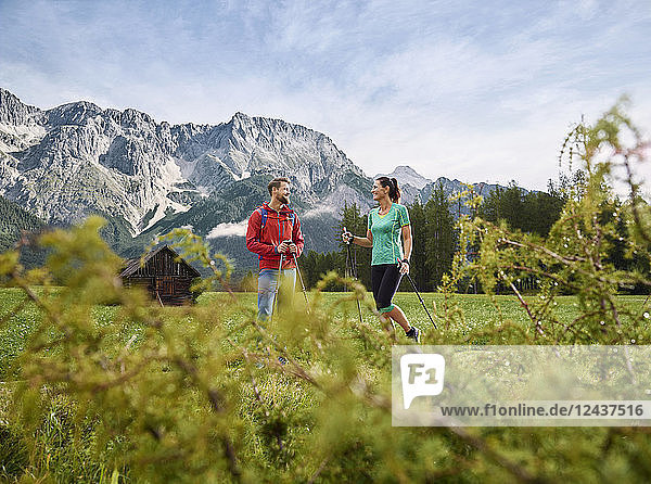 Austria  Tyrol  Mieming  couple hiking in alpine scenery