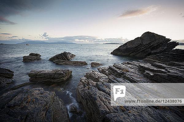 UK  Scotland  Isle of Skye  beach of Elgol at sunset