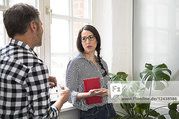 Colleagues talking at the window in office