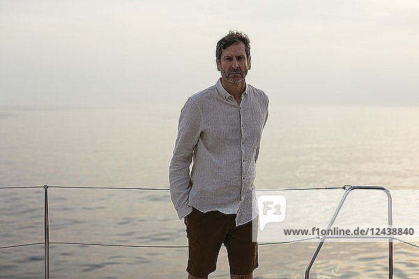 Marure man on catamaran