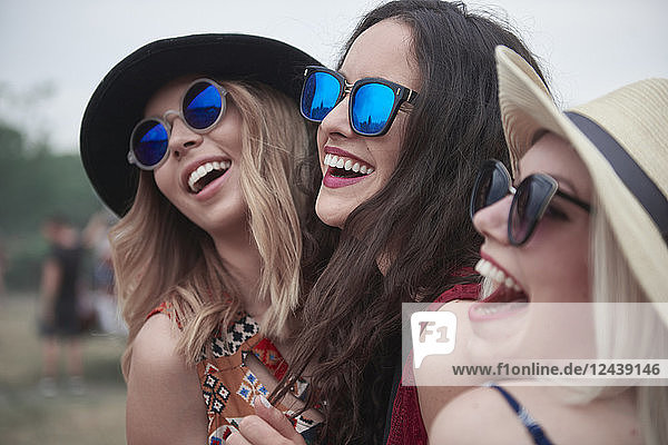 Happy girls at the music festival