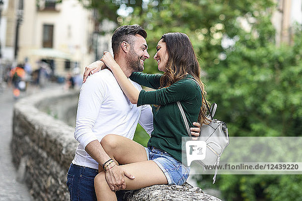 Affectionate couple in love in the city