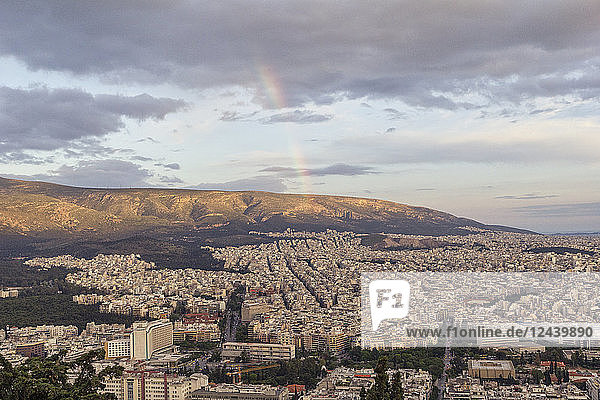 Greece  Attica  Athens  View from Mount Lycabettus over city  rainbow
