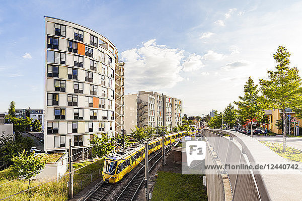 Germany  Stuttgart  high-rise residential building and tram