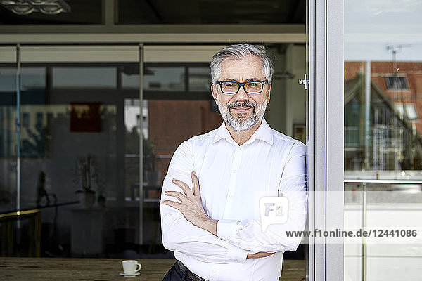 Portrait of smiling businessman standing at French door