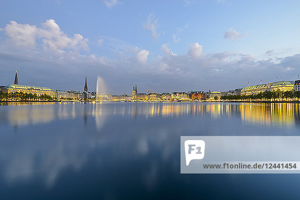 Germany  Hamburg  panoramic view of Inner Alster and Alster fountain in the evening