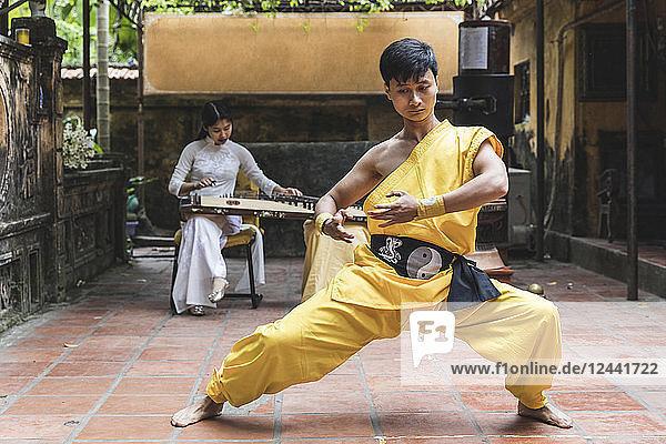 Vietnam  Hanoi  young man exercising Kung Fu