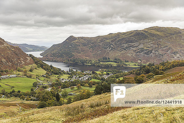 United Kingdom  England  Cumbria  Lake District  panoramic view of Glenridding and Ullswater lake
