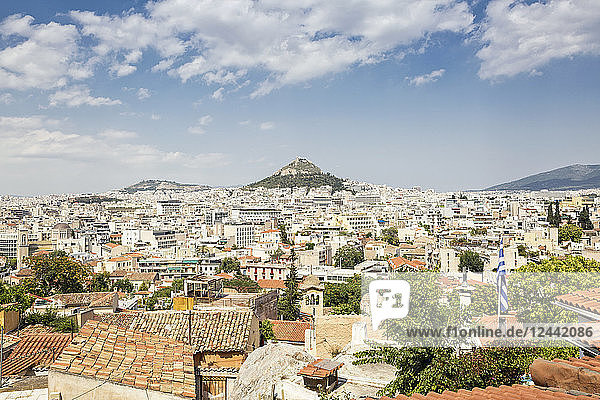Greece  Attica  Athens  View from Plaka district to Mount Lycabettus