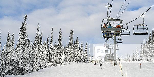 Skiers on a chairlift at Sun Peaks ski resort; Kamloops  British Columbia  Canada
