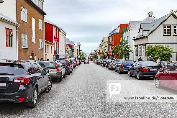 A typical quiet  pristine  colourful street of shops and homes in downtown Reykjavik; Reykjavik  Iceland