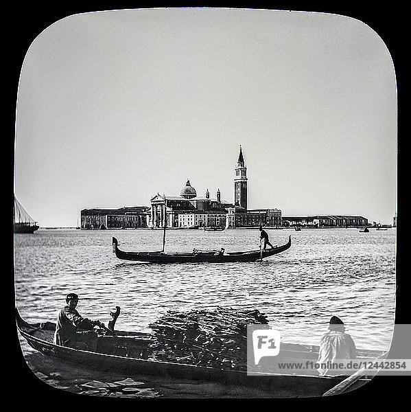 Gondola  Ducal Palace  and Campanile  Venice circa 1900 on a magic lantern slide. Photographed by Joseph John William in 1888; Venice  Italy