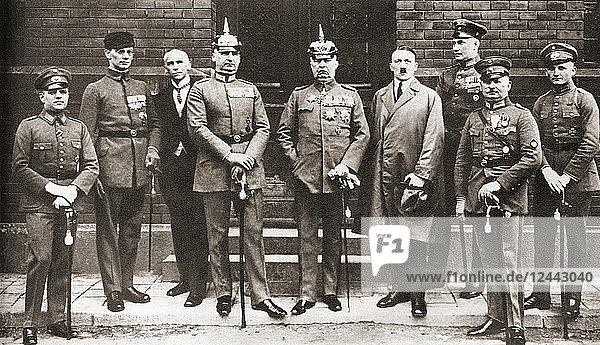 The defendants in the Munich Putsch trial aka Beer Hall Putsch of 1924  a failed coup attempt by the Nazi Party led by Adolf Hitler to seize power in Munich  Bavaria  on 8–9 November 1923. From left to right: Pernet  Weber  Frick  Kriebel  Ludendorff  Hitler  Bruckner  Röhm  and Wagner. Adolf Hitler  1889 – 1945. German politician  demagogue  Pan German revolutionary and the leader of the Nazi Party. From These Tremendous Years  published 1938.