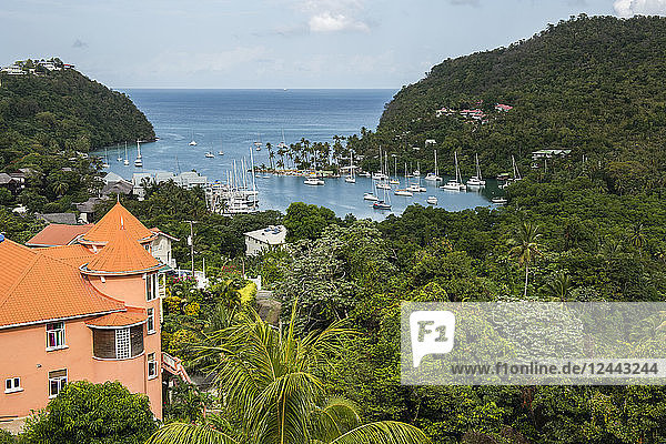 Colourful orange roof of house near Marigot Bay harbour  near Castrias  Saint Lucia
