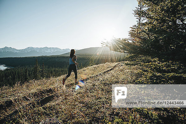 A woman running on a trail in the Rocky Mountains  near Hinton; Alberta  Canada