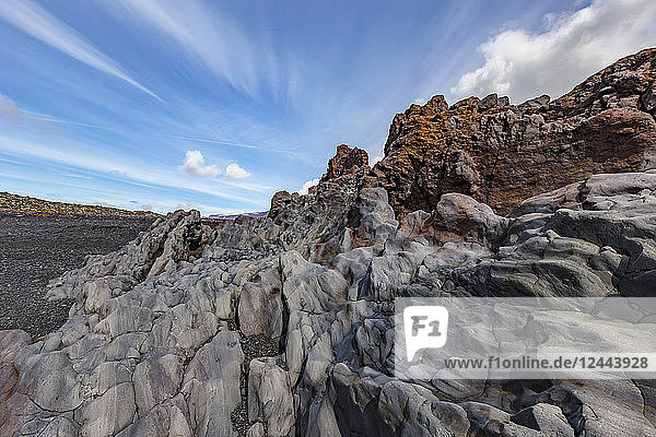 A beautiful lava rock formation on the black sand beach at Snaefellsjokull National Park  Iceland