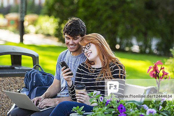 A young man and young woman sit together on a bench on the university campus using a laptop and checking social media on a smart phone while drinking coffee  Edmonton  Alberta  Canada