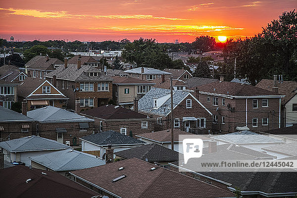 Urban neighborhood Archer Heights in Chicago at sunset  Chicago  Illinois  United States of America