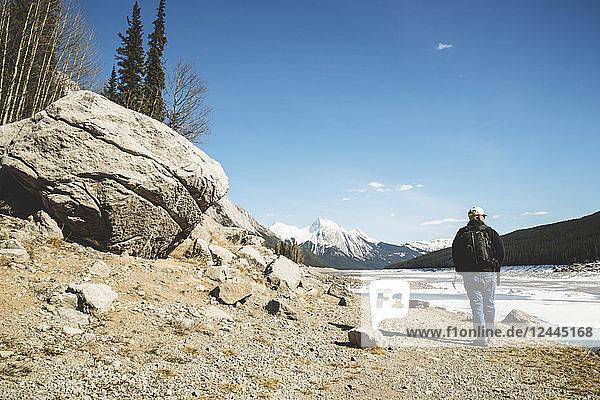Male hiking in Jasper National Park; Alberta  Canada
