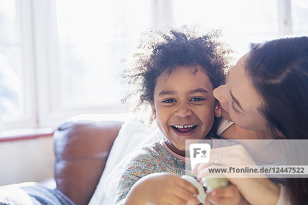 Portrait happy  affectionate mother and daughter