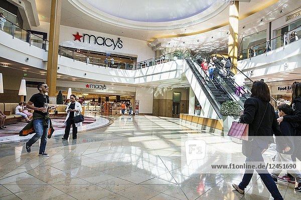 Florida  Orlando  The Mall at Millenia  shopping  atrium  escalator  man  woman  Macy's  department store  interior